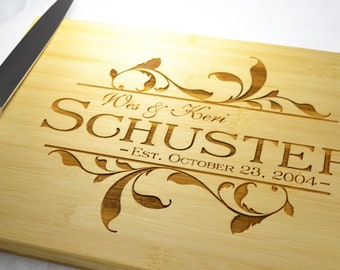 Personalized Engraved Bamboo Cutting Board for wedding or anniversary gift