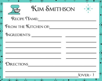 100 Personalized Recipe Cards   Retro Style  -    U Pick Color