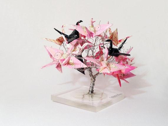 origami crane tree wire tree sculpture japanese art - photo#19