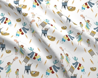 Laundry Room Fabric - Washboard Laundry Day By Salzanos By Salzanos - Vintage Laundry Home Decor Cotton Fabric By The Yard With Spoonflower