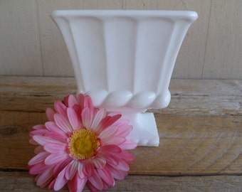Beautiful Milk Glass Footed Candy Dish Vase