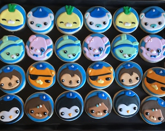 12 OCTONAUTS ocean creatures under the sea inspired themed cookies - birthday party - favors - under the sea - boy and girls - baby shower -