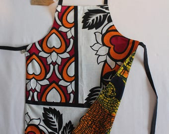 Reversible Child Apron, East-meets-West - Orange Red Hearts and Orange Masks, Small Kids Apron