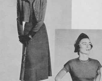 1950s Cap-Sleeved Dress and Brief Jacket