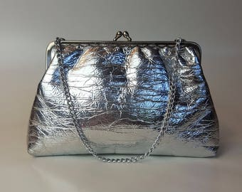 Vintage Metallic Silver Faux Leather Evening Bag - 1960's Funky Holo Chain Handle Purse with Metallic Accents Top Handle Party Bag