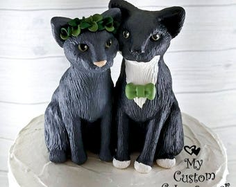 Cats Wedding Cake Topper - Cat Sculptures