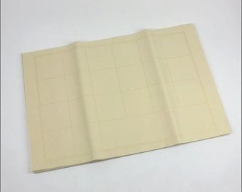 Free Shipping Chinese Calligraphy Material  70x46cm Raw Unsized Xuan Paper Rice Paper Golden Grid 100 Sheets - 0022R