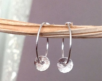 Brushed sterling silver wavy disc and hoop earrings, minimalist jewelry, everyday jewelry E335