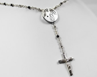 Marseille Onyx and silver Rosary chain