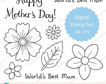 Happy Mother's Day Flower Digital Stamp set - hand drawn line art, world's best Mum, Mom, flowers and leaf - Instant Download DS014
