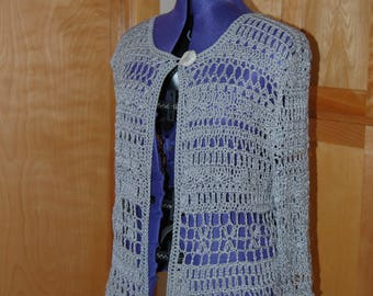 Crochet Cardican Sweater in Grey cotton size XL
