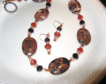 Sale  Salmon, Brown Jasper and Crystal Necklace with earrings.