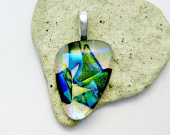 Fused Dichroic Glass Pendant - Green Glory Pendant