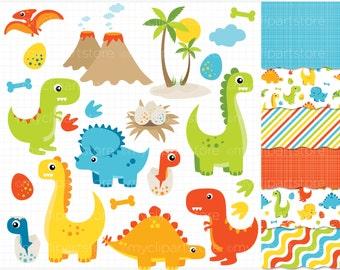 Clipart Combo - Dinosaur Fun (Boy)  / Dino Clip Art / Digital Clipart - Instant Download