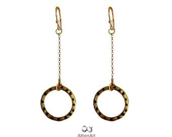 Gold plated earrings with circle Dot earrings Karma symbol Circle earrings Minimal earrings