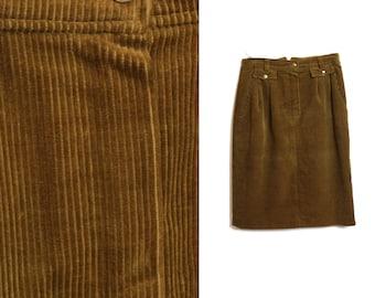 Corduroy skirt, Vintage skirt, Midi skirt, Velvet skirt, Catherina Hepfer, Brown skirt, 80s skirt, High waist skirt,  A line skirt / Medium