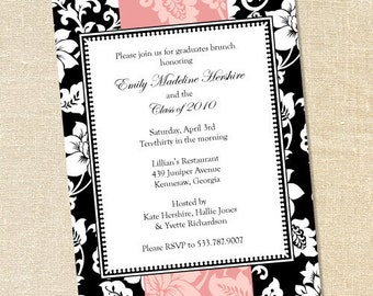 Sweet Wishes Pink Brocade Floral Ribbon Invitations - PRINTED - Digital File Also Available