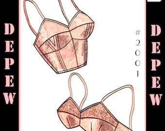 Vintage Sewing Pattern French Ladies 1950s Pinup Bra PDF Printable Multisize Depew 2001 -INSTANT DOWNLOAD-