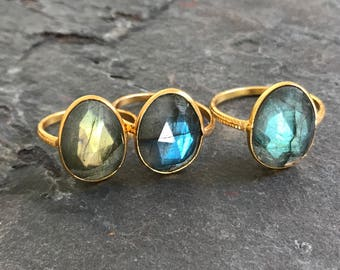 Labradorite Ring, Boho Stacking Ring with Gold Tone Textured Band