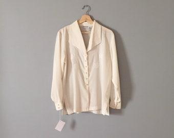 EGGSHELL white blouse | embroidered poet blouse | sailor collar blouse