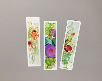 Three Handpainted Alcohol Ink Bookmarks, assorted