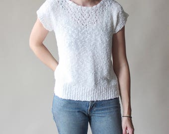 white nubby pullover sweater | short sleeve jumper, small
