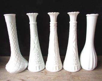 Vintage Milk Glass Vase Collection 5 Tall White Bud Vaes Mismatched