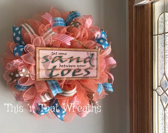 Beach Welcome Sand Summer Coral Turquoise Decomesh Mesh Front Door Wreath