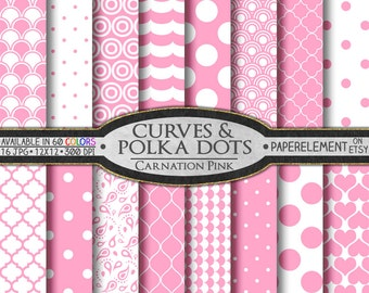 Pink Polka Dot Digital Paper: Pink Digital Download Paper, 12x12 Scrapbook Paper Pink, Carnation Pink Digital Polka Dot Pattern