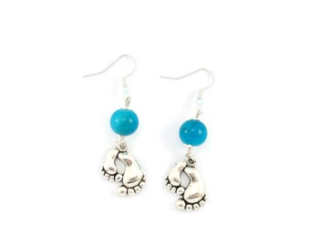 Earrings silver, blue glass beads and charm small feet