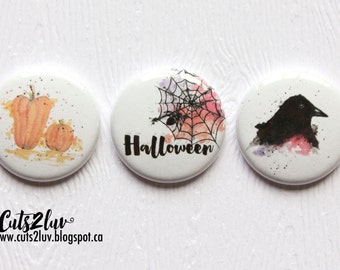 """3 buttons 1 """"watercolor Halloween"""