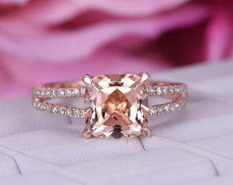 8mm Cushion Morganite Engagement ring/Diamond in 14k rose gold wedding band/Cushion cut morganite promise ring/Pave set/Split shank/Prongs