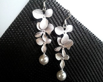 Orchid Earrings, Pearl Earrings, Flowers Dangle Earrings ,Drop earrings,bridesmaid gifts,Wedding Earrings,mother's day gift