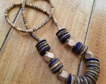 Vintage Wooden Beaded Bohemian Necklace
