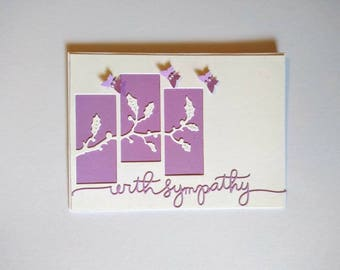 White and Purple Handmade Sympathy Blank Card with Envelope.