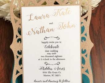 SAMPLE: Teal and Rose Gold Wedding Invitation