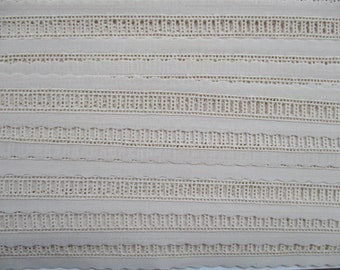 Swiss Embroidery Insertion by half-Yd in White or Ecru