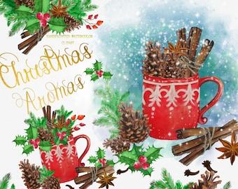 Christmas Clipart Watercolor Christmas Clip Art  Xmas  Watercolor Tea Party ClipArt Teacup  Cinamon Handpainted Ornaments Invitation DYI
