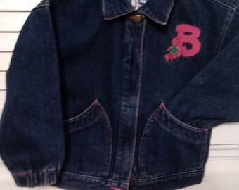 DENIM Barney jacket, size 6, vintage. barney the purple dinosaur!