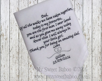 Personalised Embroidered Wedding hankies, Handkerchief, Mother of Bride, Father of Bride