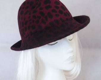 Red fedora. Women's fedora in burgundy leopard print. Ladies millinery hat. Fall fashion accessory. Animal print trilby. Long fur felt.
