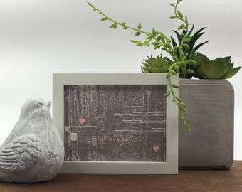 Cancer survivor art | think pink | breast cancer quote | survivor gift | cancer hope gift | cancer patient gift | survivor encouragement