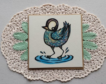 cheeky duck, square greeting card, blank, greeting card, designer card, unique card, eco, recycled card, ink illustration, duck, bird art
