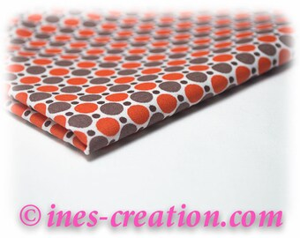 "Coupon fabric 50x50cm ""Dots Orange"" 100% cotton"