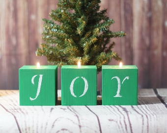 Joy Candles, Green Christmas Candles, Rustic Christmas Decor, Primitive Christmas Decorations, Christmas Table decor, Christmas Mantle