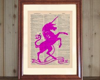 Unicorn Dictionary Print,  Unicorn Print, Pink Unicorn Drawing, Unicorn Art, Unicorn Lover Gift, Unicorn Print on 5x7 or 8x10 Canvas Panel