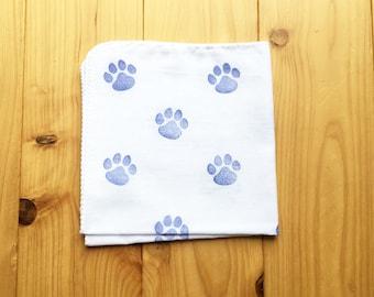 dog paw handkerchief  | kids hankie | baby face wipe | ladies hand wipe | cotton wash cloth | hand printed hand towel | baby shower gifts
