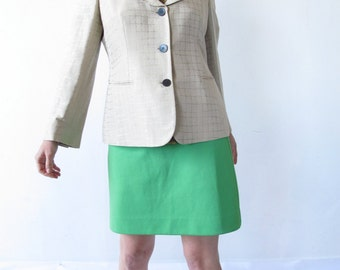 Vintage Late 80s / Early 90s Armani Blazer. Pale Taupe Fitted Blazer with Sleek Peter Pan Collar and Contrasting Buttons.  Size 12