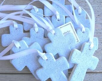 Baptism Favors Cross Set of 6 Salt Dough Crosses / Christening Favors