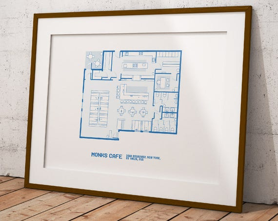 Seinfeld poster monks cafe floor plan wall art prints tv malvernweather Choice Image
